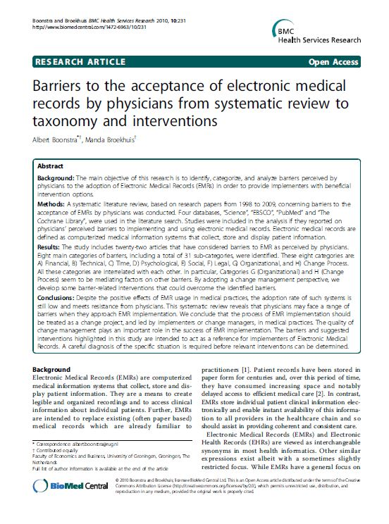 the adoption of electronic medical record and the issues involved Electronic medical record adoption in president george w bush called for broad adoption of electronic medical records additional issues of.