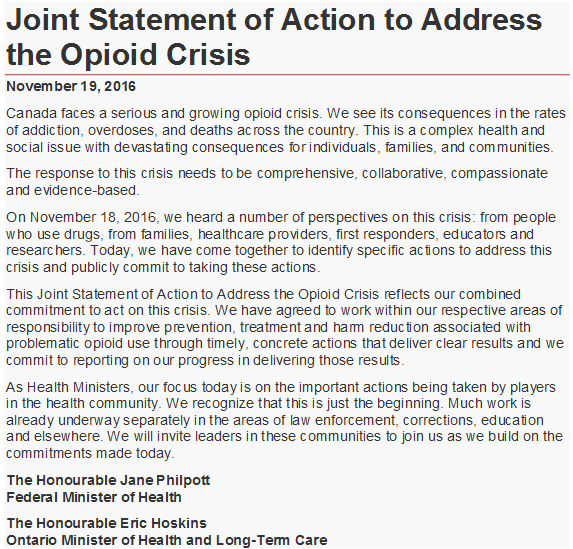 Joint Statement of Action to Address the Opioid Crisis | Canada