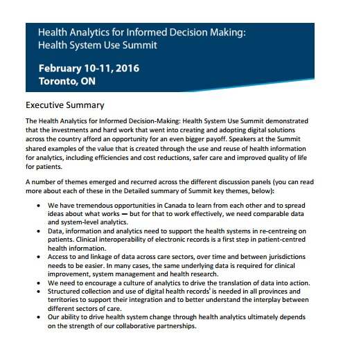 Health Analytics For Informed Decision Making Health System Use
