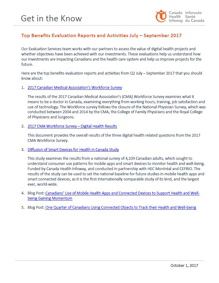 Top Benefits Evaluation Reports and Activities July – September 2017